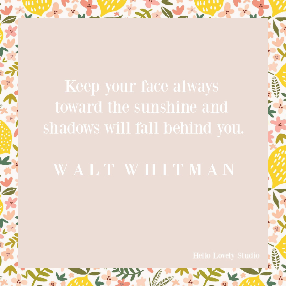Walt Whitman quote on Hello Lovely. #sunquotes #whitmanquotes #positivityquotes