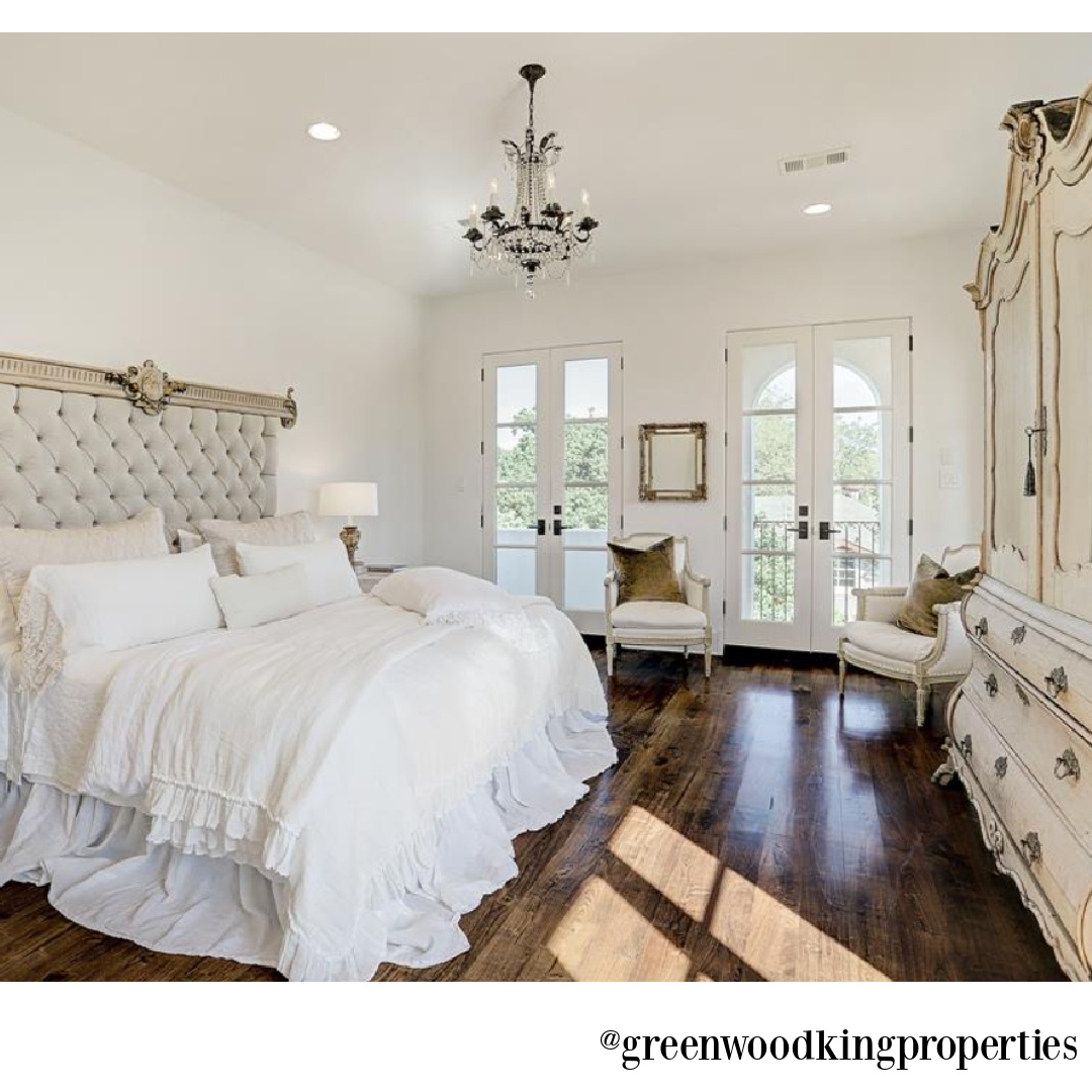 Elegant French country white bedroom design by M Naeve in a Houston home. #frenchcountry #bedroomdecor #mnaeve