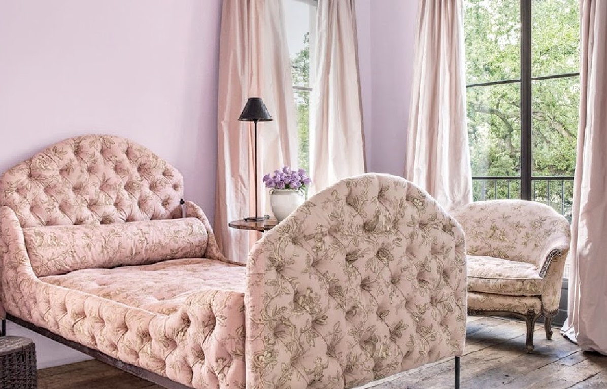 Pink toile upholstered beds in a Pamela Pierce designed bedroom with rustic reclaimed wood floors. #frenchcountry #pinktoile #bedroomdecor #interiordesign #pamelapierce