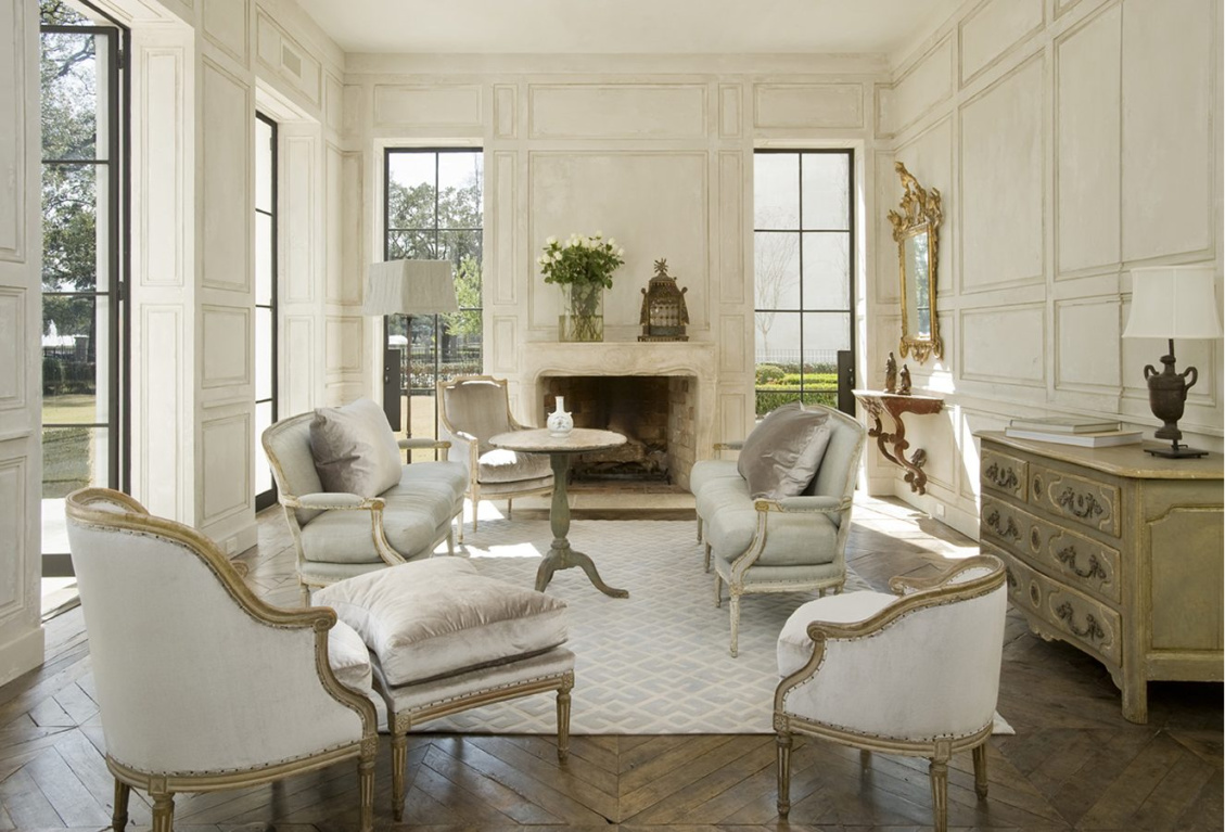 French country white elegant living room with European antiques and custom finishes - design by Pamela Pierce. #frenchcountry #livingroom #elegantdecor #pamelapierce #interiordesign