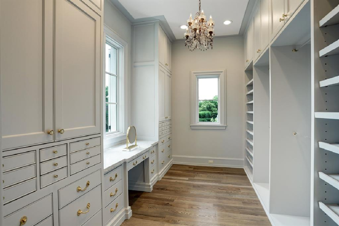 Luxurious custom dressing room in Breathtaking French inspired Houston Home (2535 Inwood). #frenchcountry #housedesign #interiordesign #luxuryhome #frenchhome #dressingroom #closets #luxuriousdesign