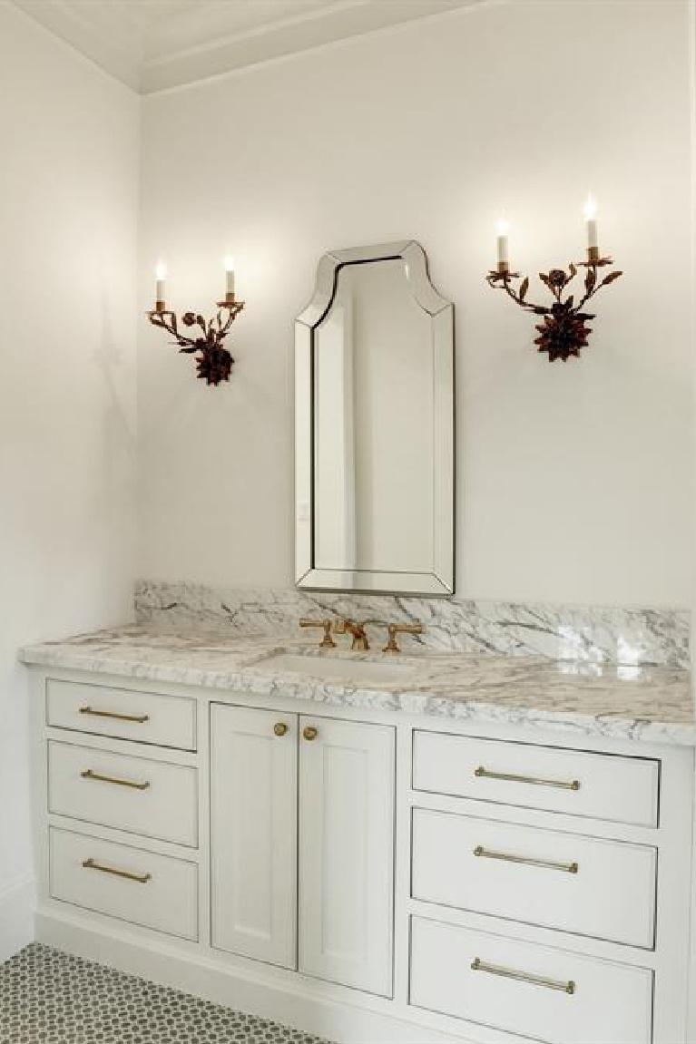 Bathroom in breathtaking French inspired Houston Home (2535 Inwood). #frenchcountry #housedesign #interiordesign #luxuryhome #frenchhome #sophisticateddecor #bathroomdesign