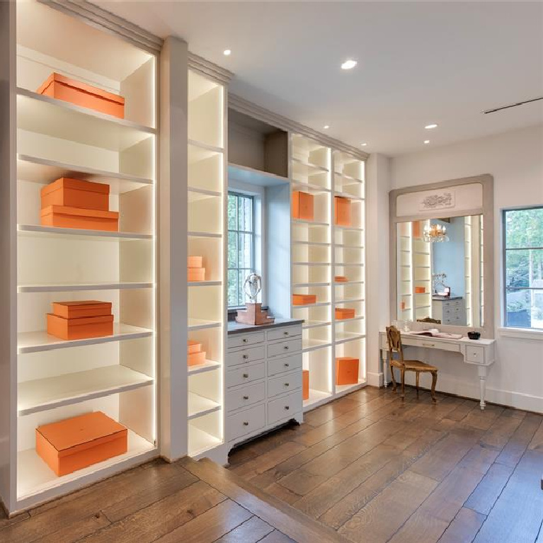 Boutique style luxury closet in Stunning French inspired luxury home in Houston. #luxuryhome #frenchhome #frenchcountry #sophisticateddecor #timelessdesign