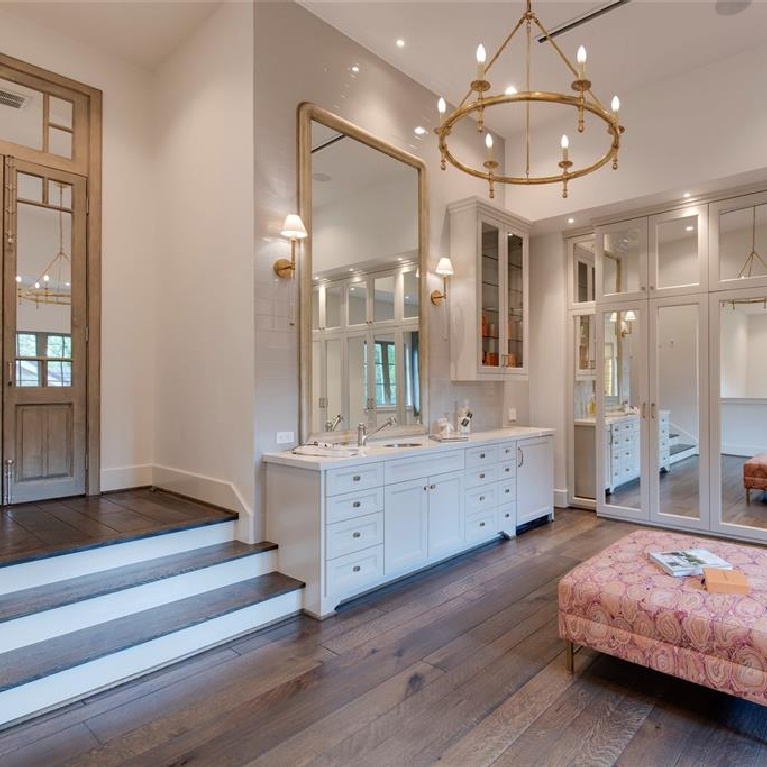 Gorgeous multi-level dressing room retreat in Stunning French inspired luxury home in Houston. #luxuryhome #frenchhome #frenchcountry #sophisticateddecor #timelessdesign #dressingroom