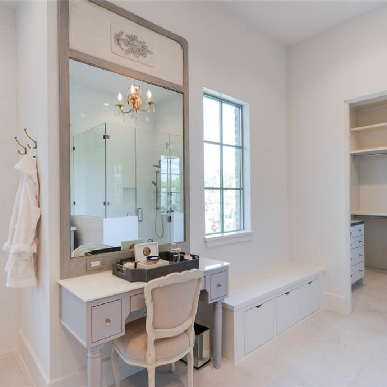 Vanity in dressing room of Stunning French inspired luxury home in Houston. #luxuryhome #frenchhome #frenchcountry #sophisticateddecor #timelessdesign #dressingroom