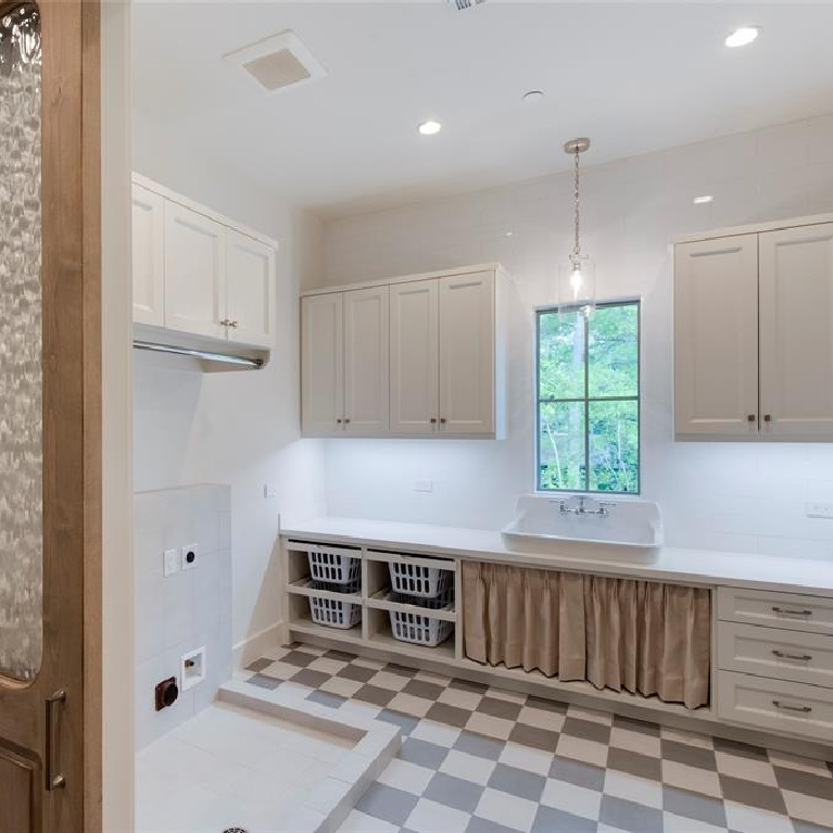 Laundry room in Stunning French inspired luxury home in Houston. #luxuryhome #frenchhome #frenchcountry #sophisticateddecor #timelessdesign #laundryroom