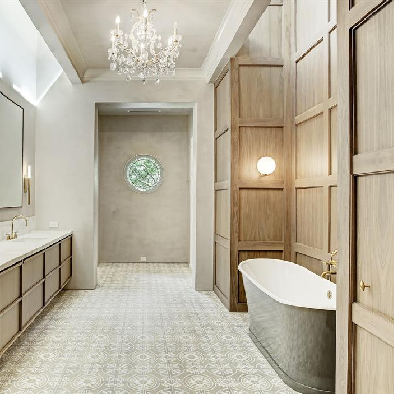 Old world elegance, authentic European antique construction materials, and Segreto finishes throughout this stunning Houston home. #luxuryhomes #interiodesign #oldworldstyle #frenchcountry #sophisticateddecor #bathroomdesign