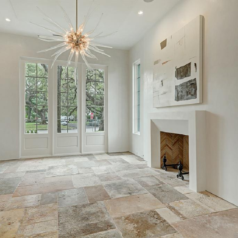 Old world elegance, authentic European antique construction materials, and Segreto finishes throughout this stunning Houston home. #luxuryhomes #interiodesign #oldworldstyle #frenchcountry #sophisticateddecor #segretofinishes