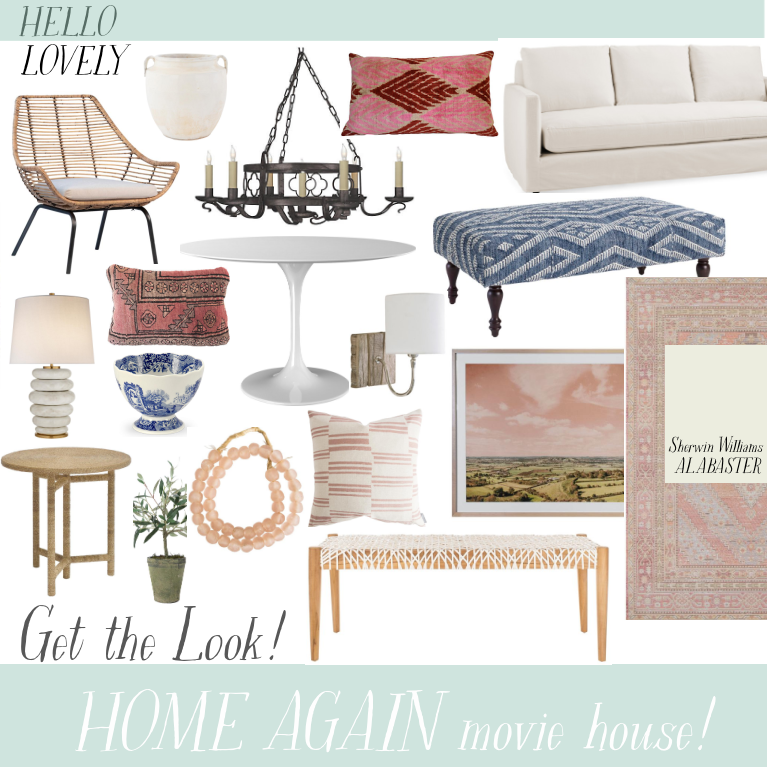 Get the Look Home Again Movie House - Hello Lovely Studio. #getthelook #shopthelook #homeagain #reesewitherspoon #interiordesign #furniture #homedecor