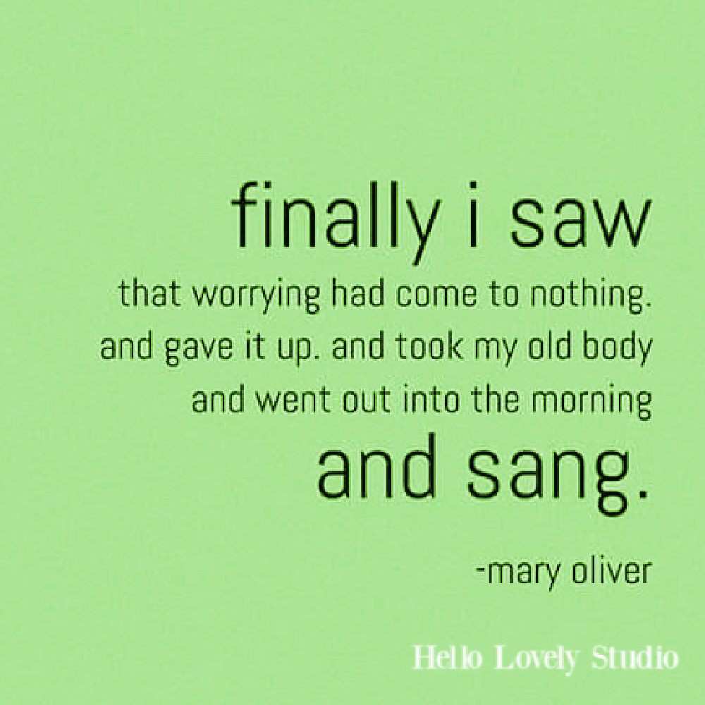 Mary Oliver quote about worry on Hello Lovely. #maryoliverquote #maryoliverpoetry