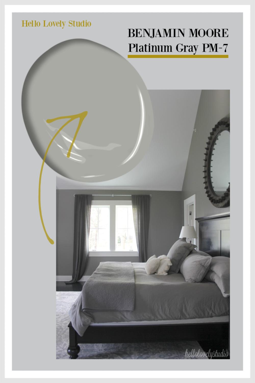 Benjamin Moore Platinum Gray Paint Color photos of interiors on Hello Lovely Studio. #platinumgray