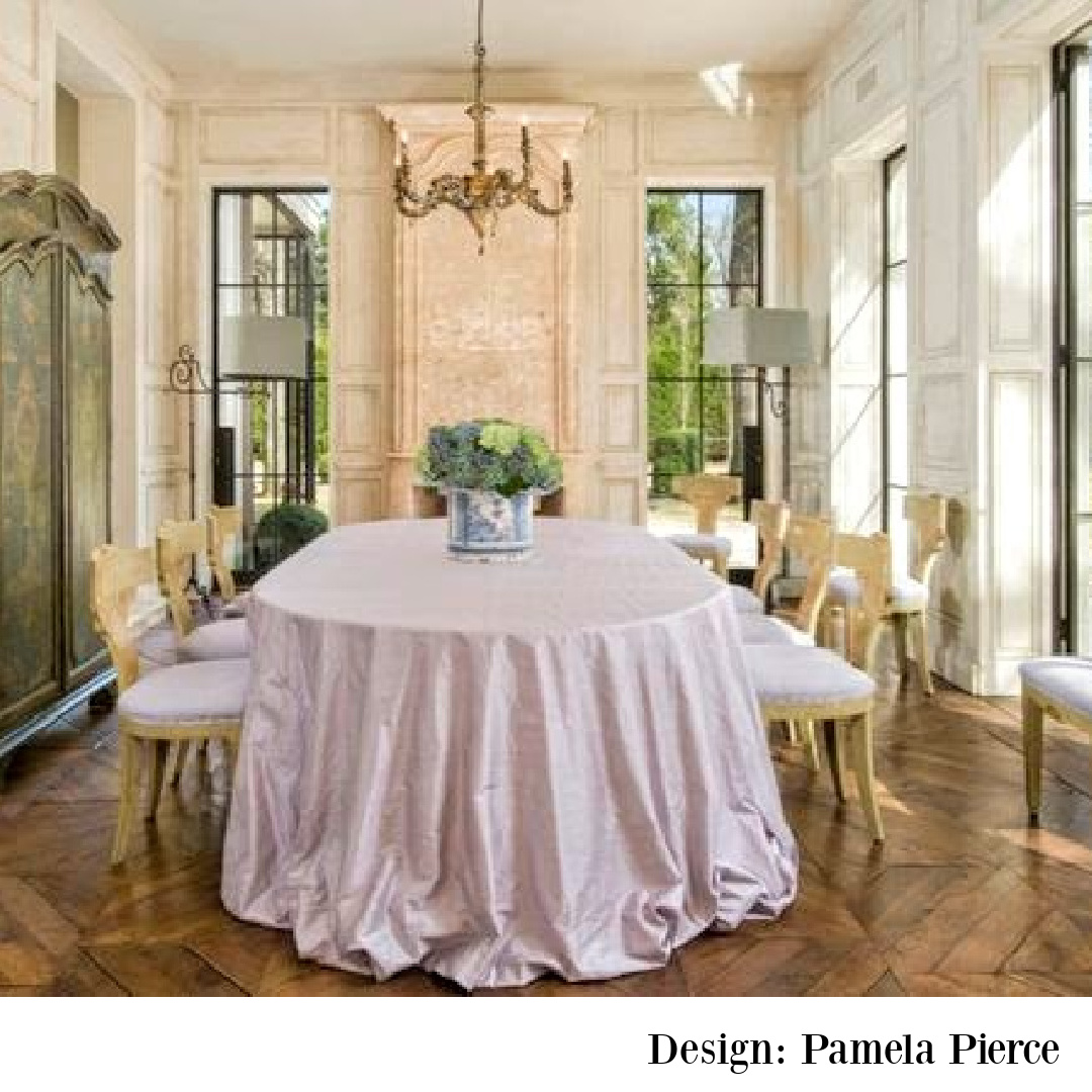 Elegant country French farmhouse dining room designed by Pamela Pierce in a Houston home by Reagan Andre. #diningrooms #frenchcountry #pamelapierce #oldworld #european #antiques
