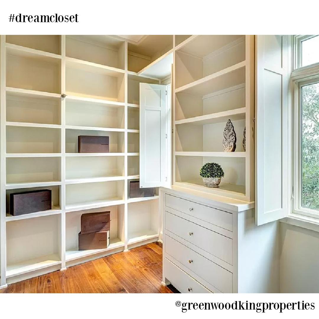 Closet in modern French Houston Home (1119 Berthea St.) - @greenwoodkingproperties. #modernfrench #interiordesign #dreamcloset