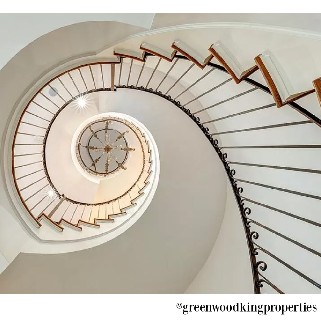 Staircase in modern French Houston Home (1119 Berthea St.) - @greenwoodkingproperties. #modernfrench #interiordesign #staircases