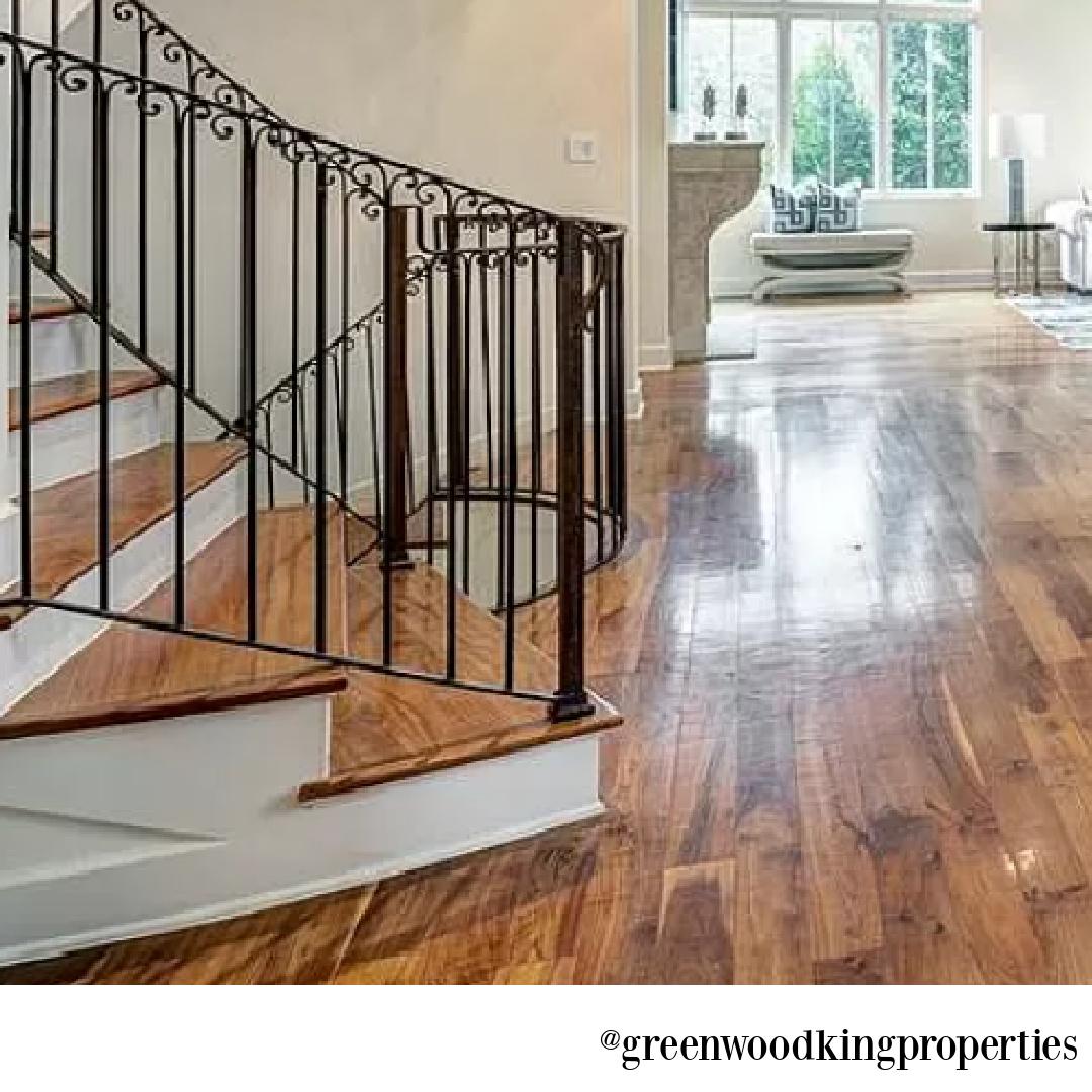Rustic wood flooring in modern French Houston Home (1119 Berthea St.) - @greenwoodkingproperties. #modernfrench #interiordesign