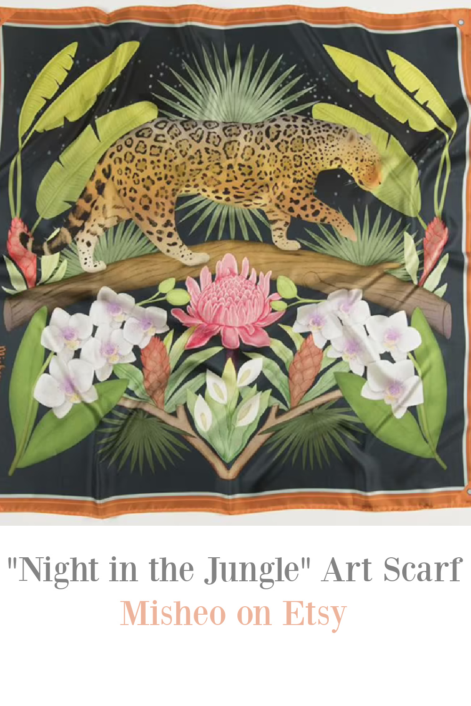 "Jaguar, tropical fauna, colorful scarf entitled ""Night in the Jungle"" by Misheo on Etsy. #artscarf #jaguar #jungleprint"