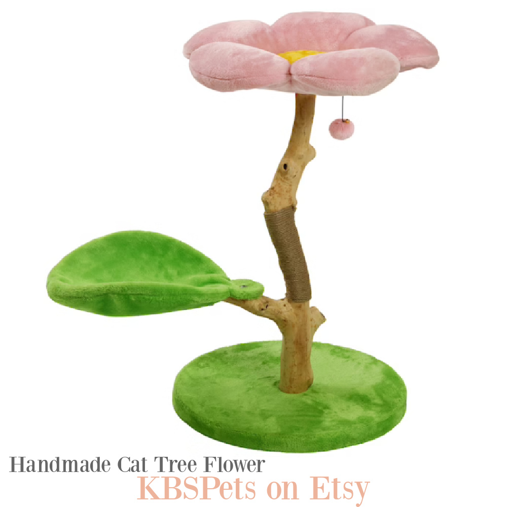 Whimsical and modern cat tree flower tower, handmade by KBSPets on Etsy. #cattower #cattree #moderncat #flowercattree #cattreemodern