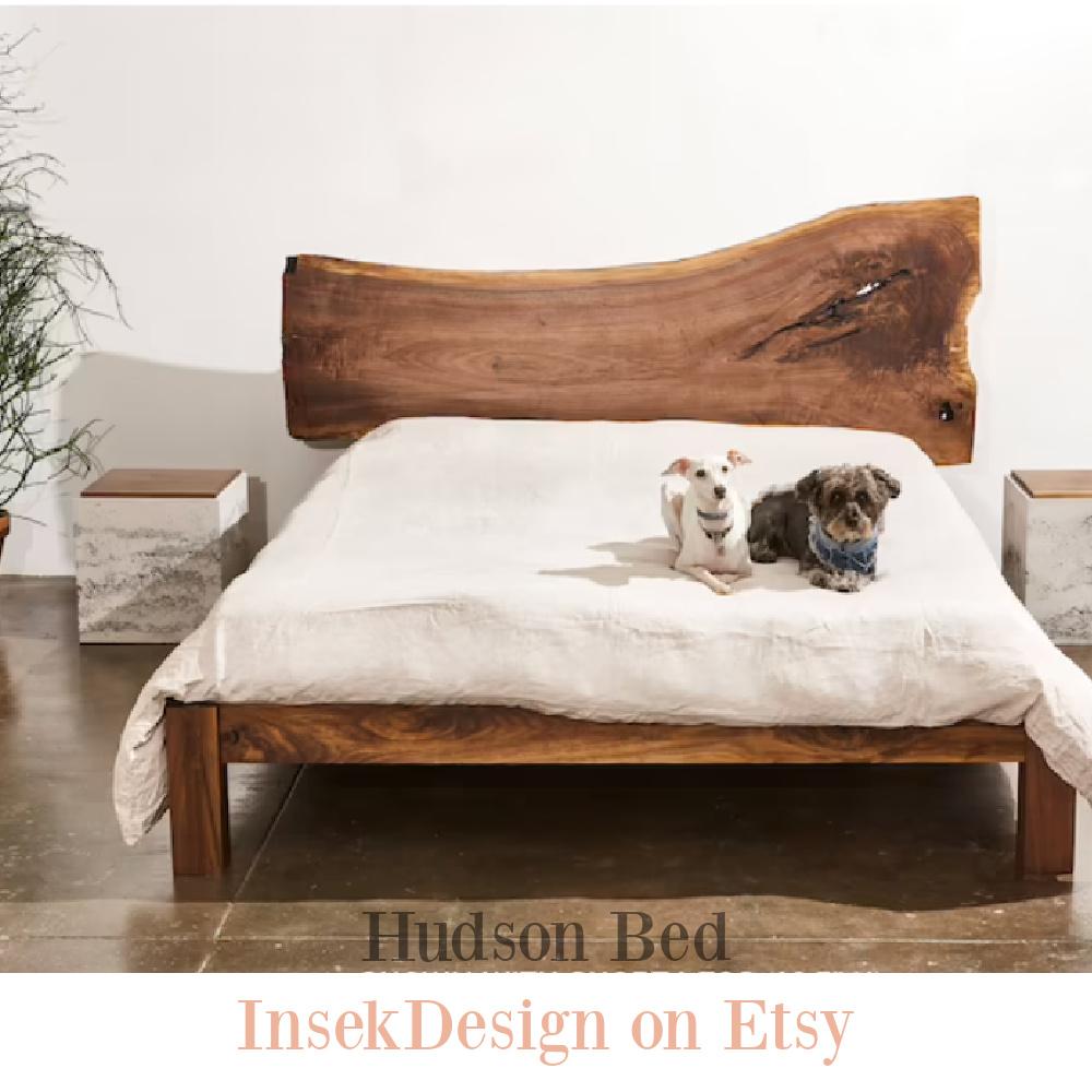 Handmade walnut minimalist rustic modern bedframe (Hudson) by Insekdesign on Etsy. #handmadefurniture #walnut #woodbedframe