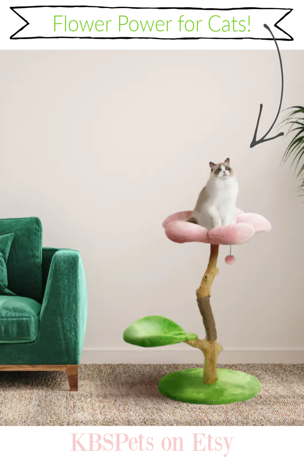 Cat Flower Tower Tree - a lovely handmade creation from KBSPETS on etsy! #cattree #cattower #catflowertower #cattoys
