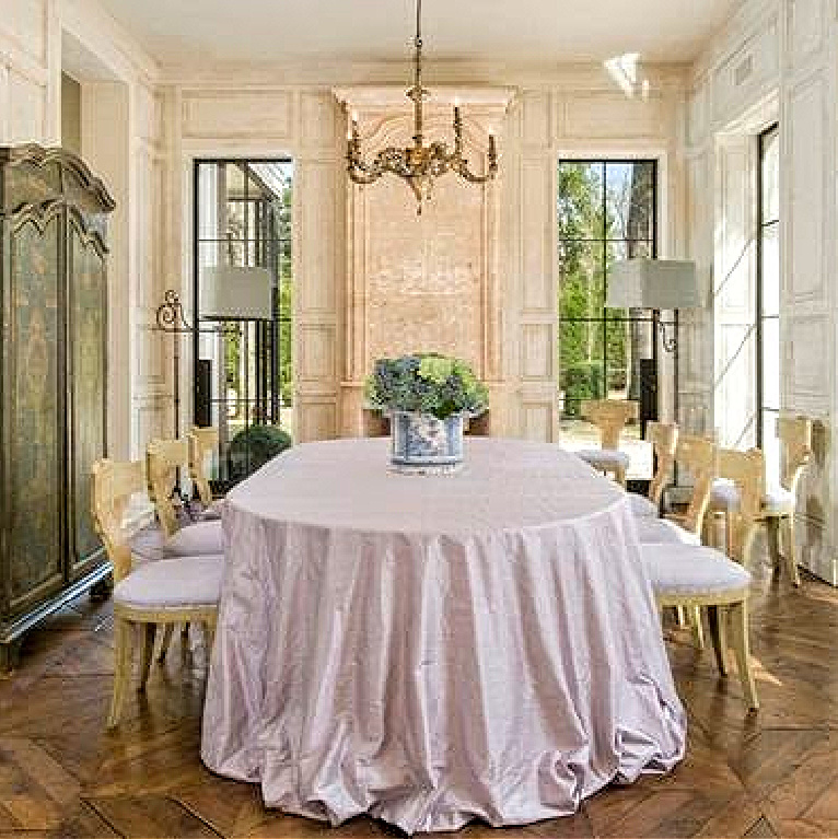 Magnificent French farmhouse dining room designed by Pamela Pierce in a Houston home by Reagan Andre. #diningrooms #french #interiordesign