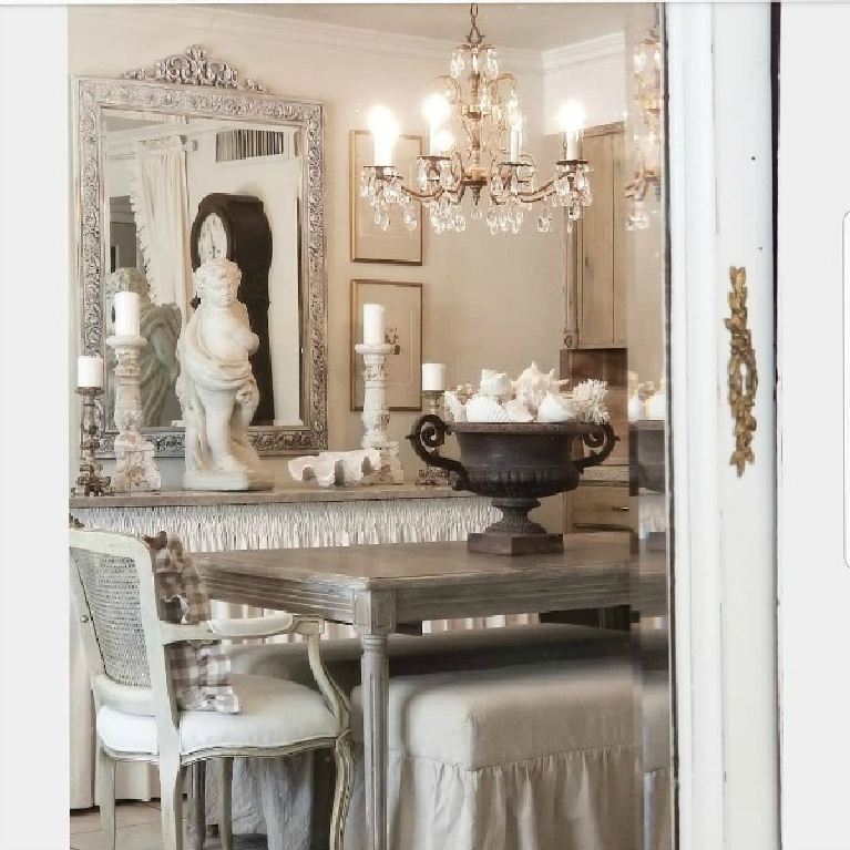 Layered with interest and shades of white to greige, this dining room by The French Nest Co is serene and timeless. #frenchfarmhouse #diningroom #countryfrench #whitedecor #allwhitedecor #oldworldstyle