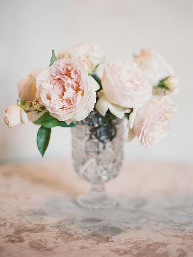 Pink garden roses in crystal vase. #frenchcountry #roses #floralarrangement #romanticdecor