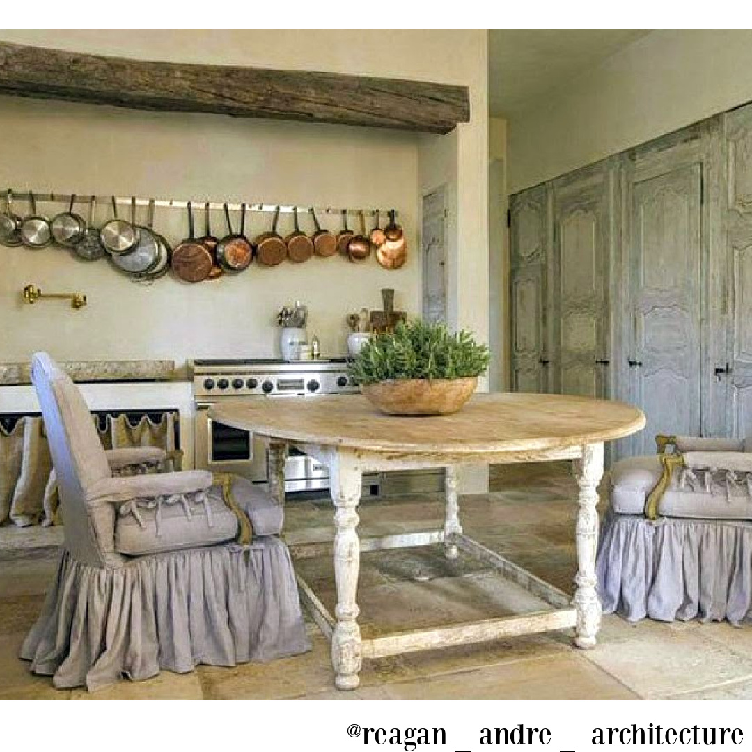 Rustic elegant French farmhouse kitchen by Pamela Pierce with copper pots and antiques - @reagan_andre_architecture. #frenchfarmhouse #frenchkitchen #pamelapierce