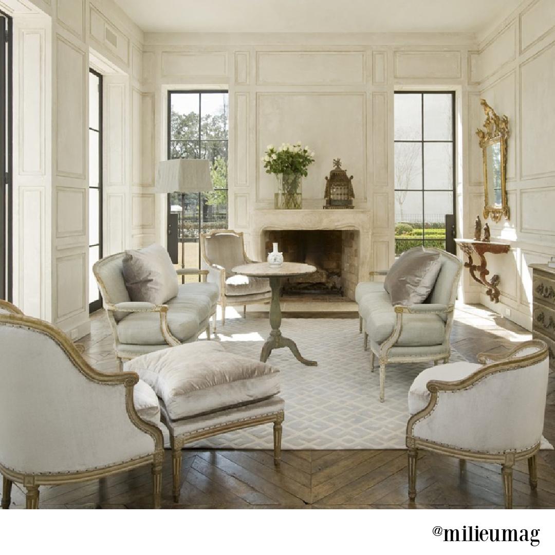 Elegant white French country living room by Pamela Pierce in Milieu magazine. #pamelapierce #livingroomdesign #frenchcountry