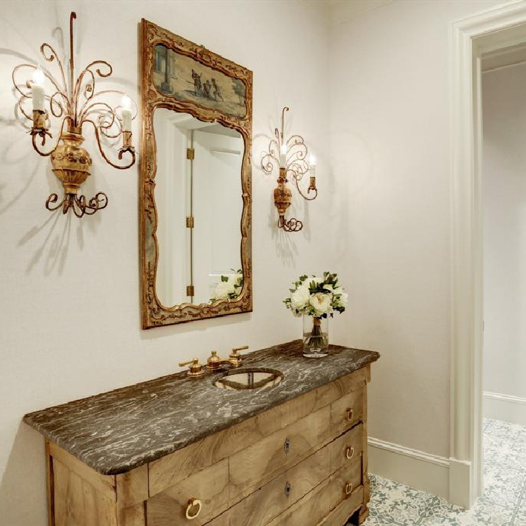 Bathroom in breathtaking French inspired Houston Home (2535 Inwood). #frenchcountry #housedesign #interiordesign #luxuryhome #frenchhome #sophisticateddecor #bathroomdesign
