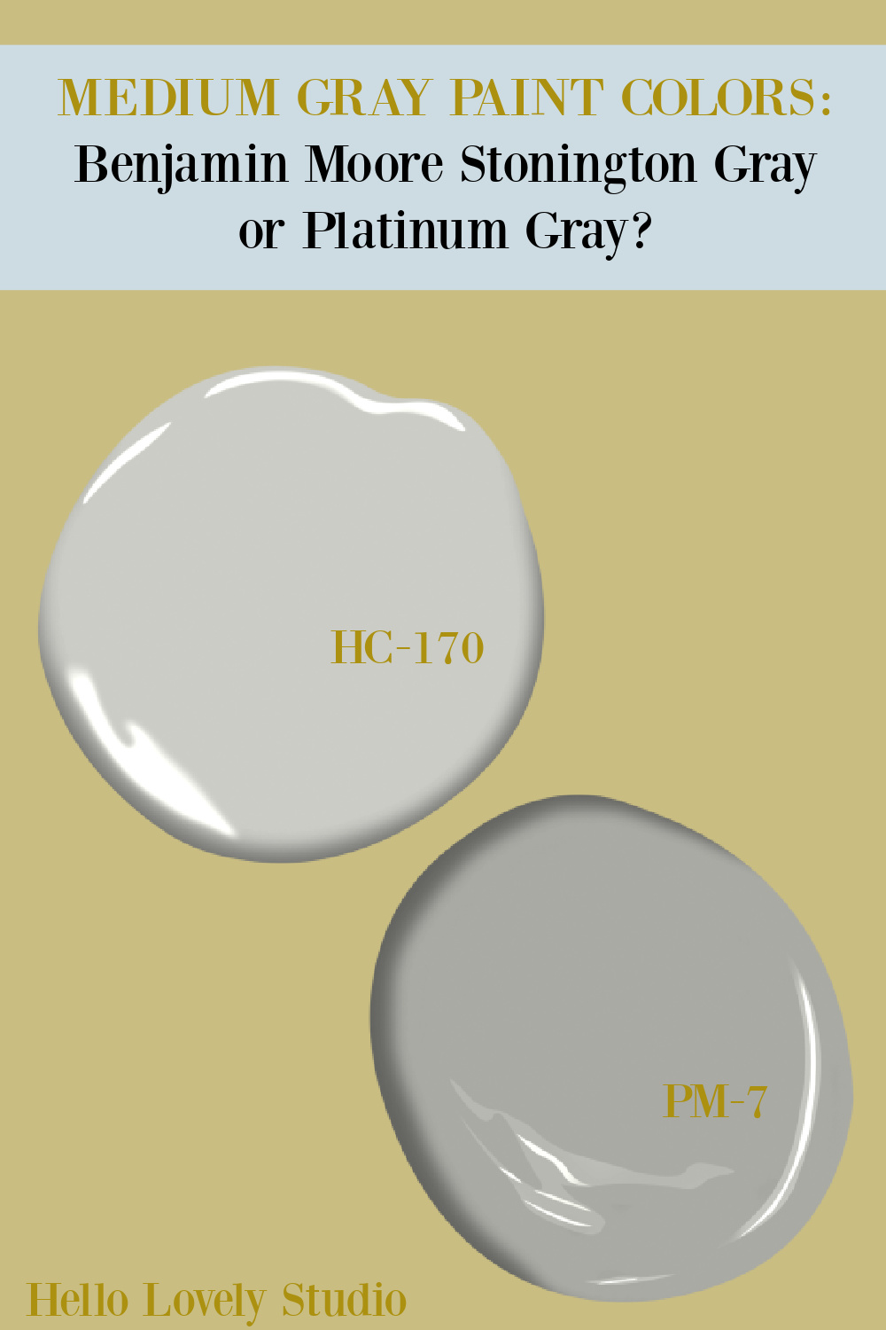 Benjamin Moore Stonington Gray or Platinum Gray? Get ideas for these medium gray paint colors on Hello Lovely. #paintcolors #graypaintcolors