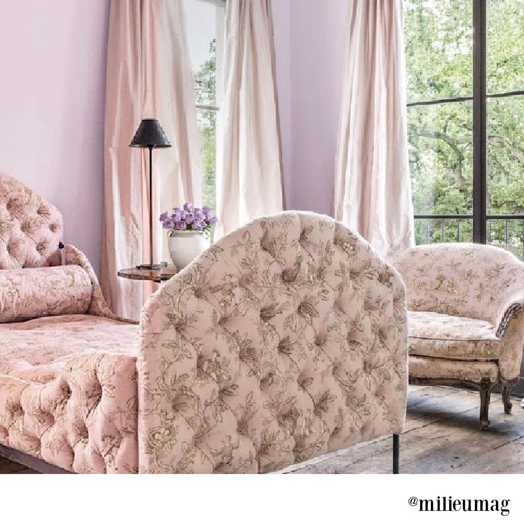 Pink toile upholstered beds in a Pamela Pierce designed bedroom with rustic reclaimed wood floors. #frenchcountry #pinktoile #bedroomdecor #interiordesign #pamelapierce