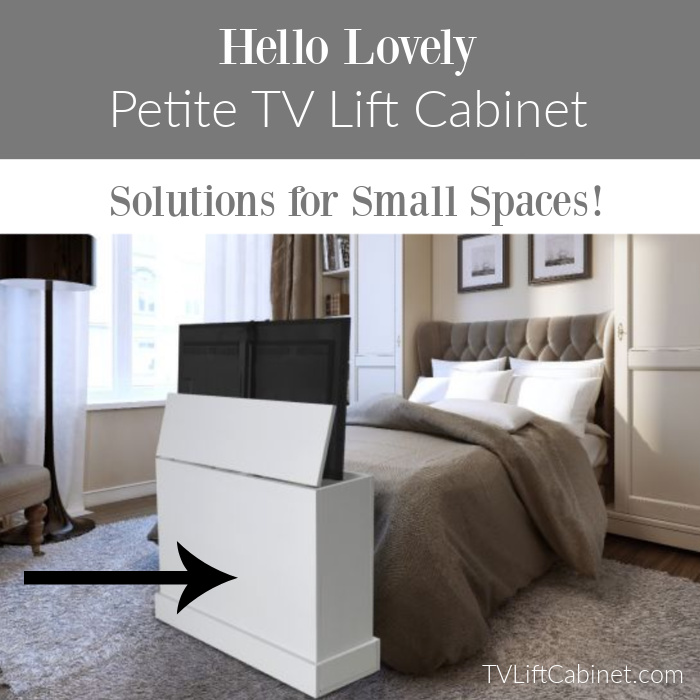 Hello Lovely Petite TV Lift Cabinet from TVLiftCabinet.com - come discover How to Hide a TV: 6 Clever Options With Style! #tvlift #popuptv #tvstorage #liftmechanism #footboardtv #liftcabinets