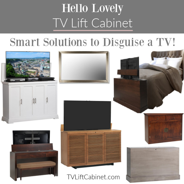 Hello Lovely TV Lift Cabinets! Come discover these Smart solutions to disguise a TV! #tvlifts #mirrortv #tvmirror #footboardtv #tvcabinets
