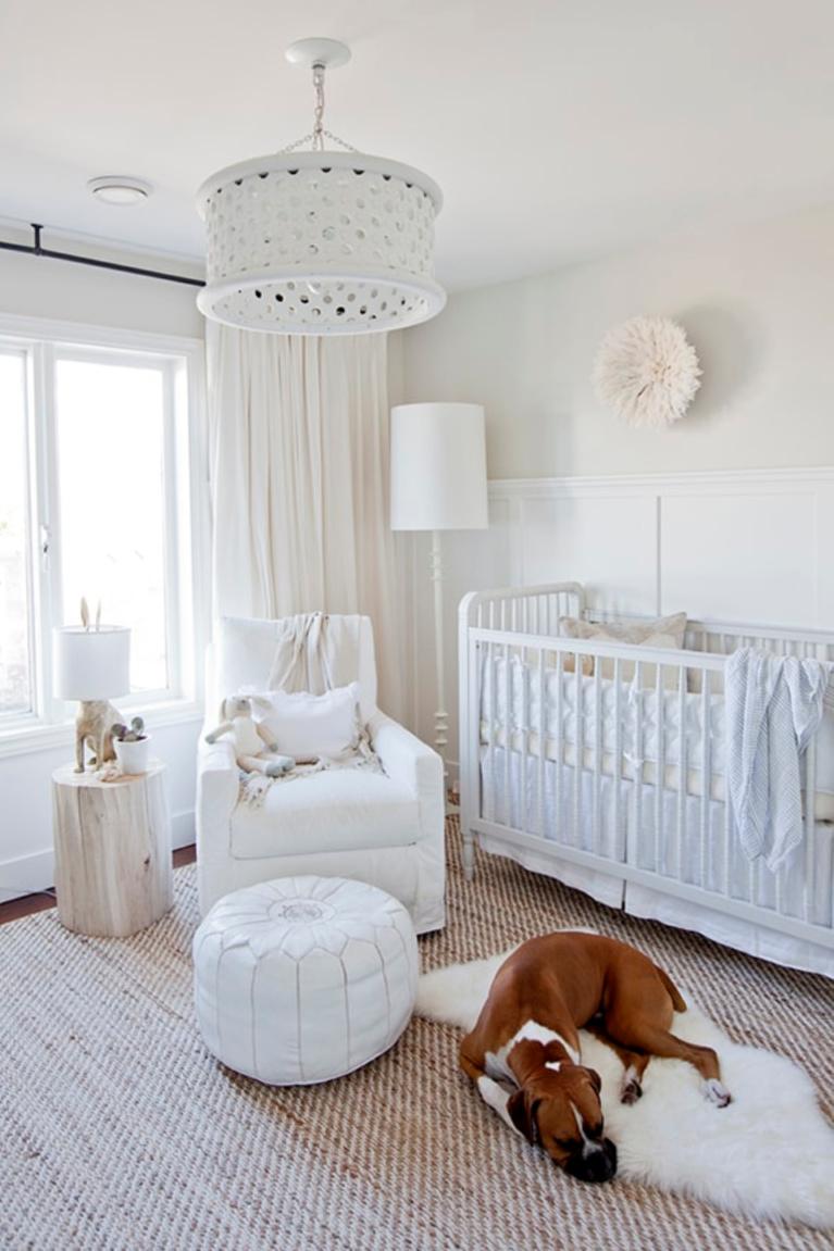 Chantilly Lace by Benjamin Moore white paint on nursery walls - Jillian Harris. #benjaminmoore #chantillylace #whitepaint #paintcolors #bestwhites #nursery
