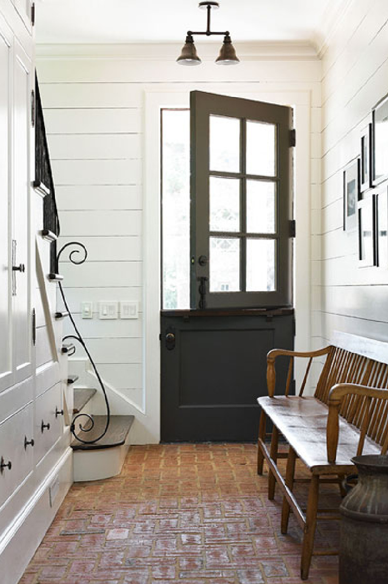 Modern farmhouse entry with dutch door and shiplap painted Benjamin Moore China White - Amy D Morris Interiors. #whitepaint #bestwhites #paintcolors #benjaminmoorechinawhite #entry #shiplap