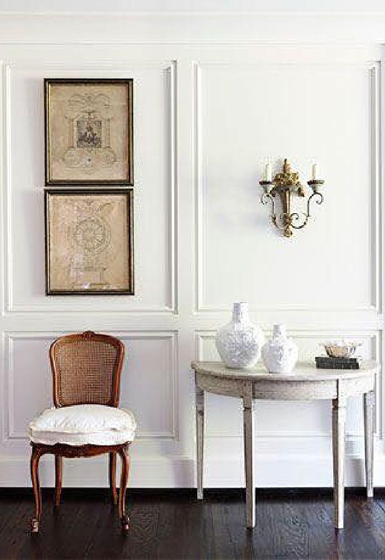 Benjamin Moore China White painted paneled wall - Sebastian Interiors. #benjaminmoore #chinawhite #paintcolors #bestwhites #interiordesign