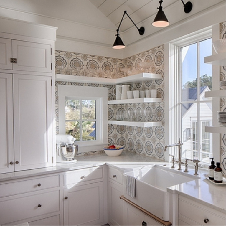 Benjamin Moore White paint on cottage kitchen cabinets in home by Lisa Furey. #benjaminmoorewhite #paintcolors #whitepaint #bestwhites #kitchendecor