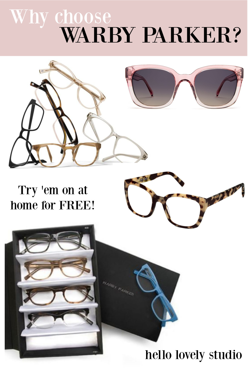 Why choose Warby Parker - Hello Lovely Studio banner