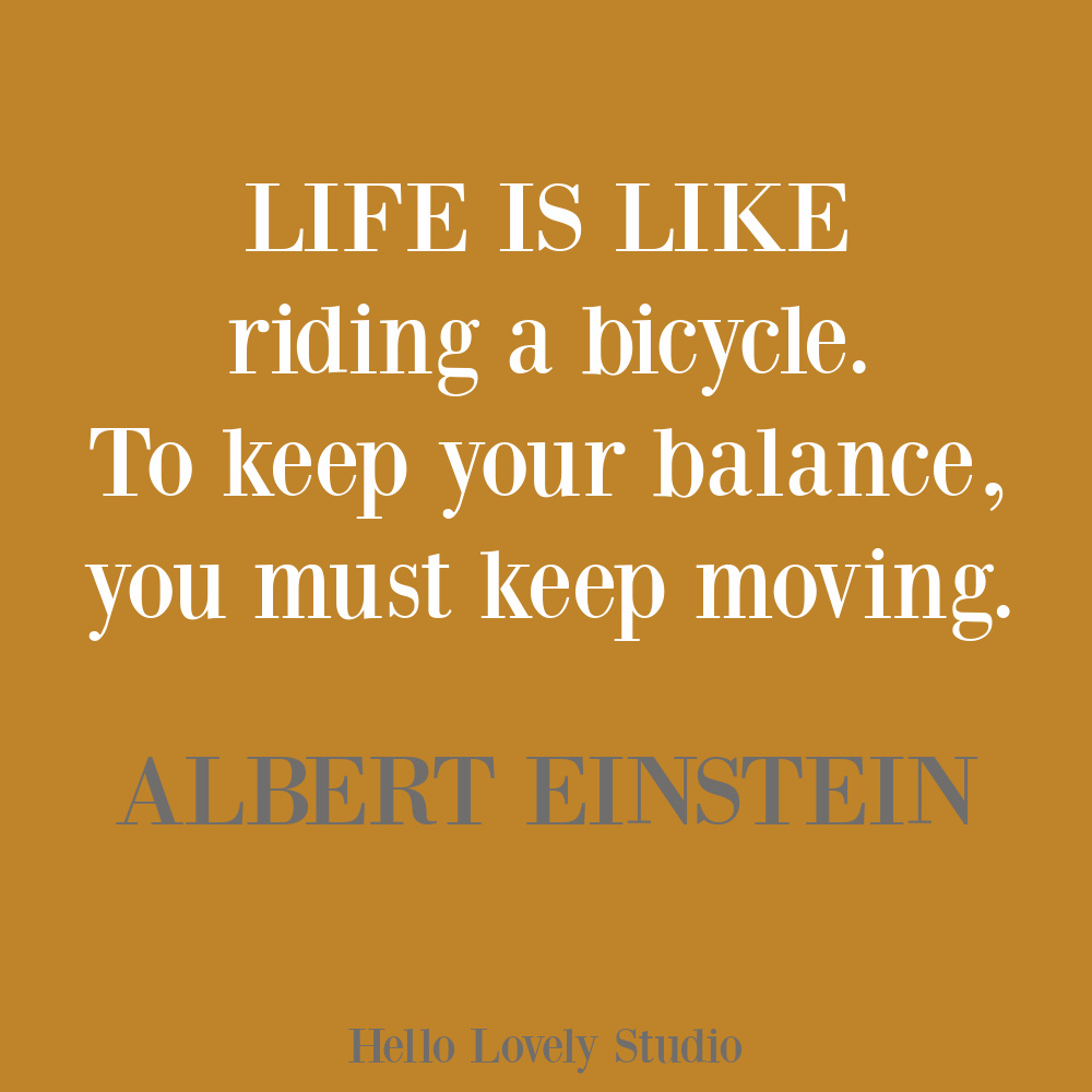 Einstein quote about life and a bicycle on Hello Lovely. #einsteinquotes #lifequotes