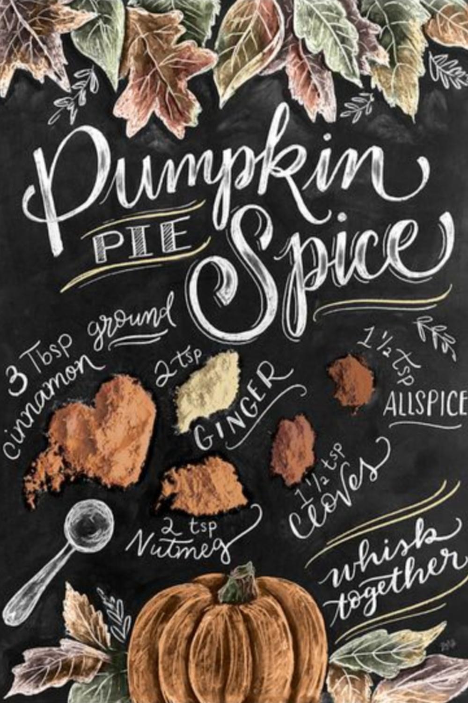 Pumpkin Pie spice recipe in a beautiful graphic print with black background. #pumpkinpiespice #fallrecipes