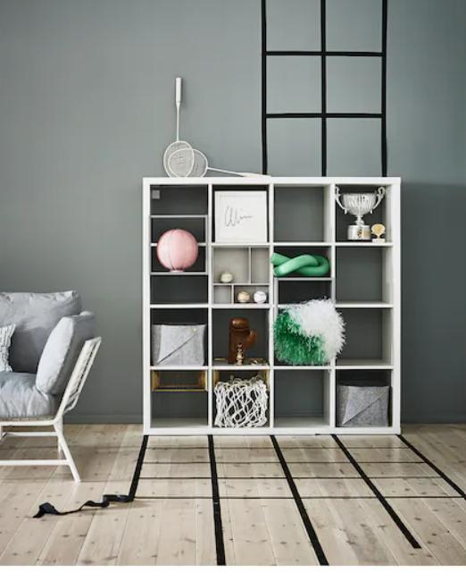 Kallax shelf storage from Ikea in a living room. #kallaxhacks
