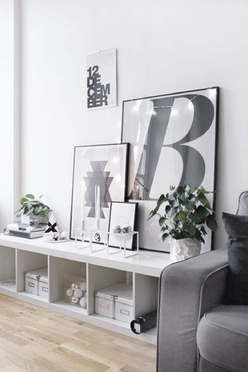 Kallax used as a low chic console with black and white Scandi vibe in a modern space. #kallax #ikeahacks