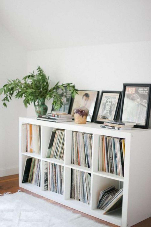 Kallax used as vinyl album record storage and media organization. #kallaxhack #ikeahacks #vinylstorage
