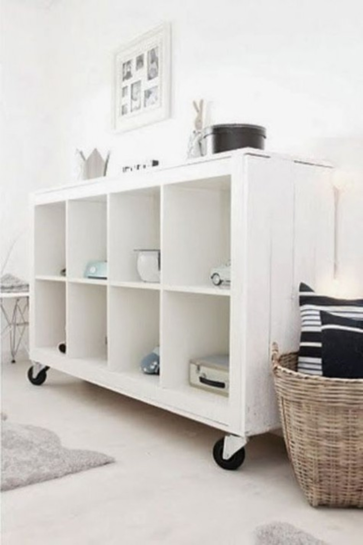 Rustic mobile console created with Ikea's Kallax. #kallaxhacks