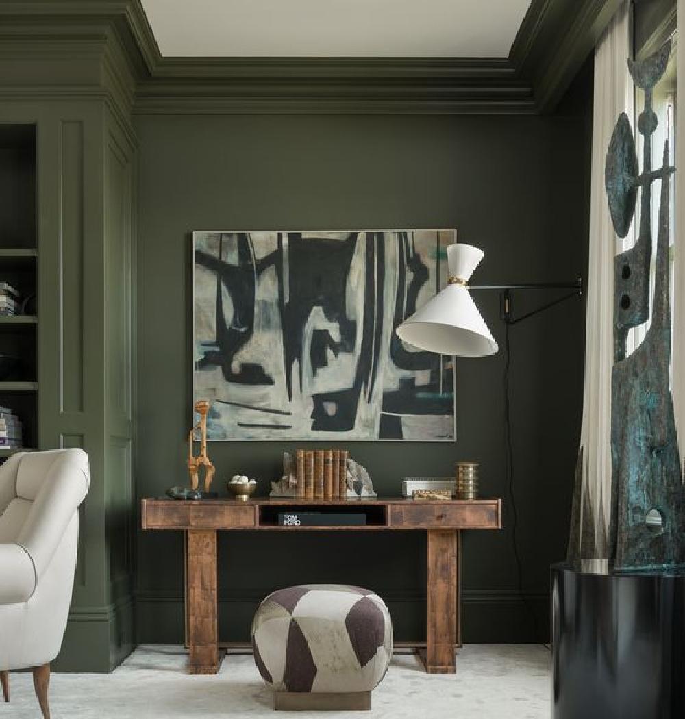 Dark green walls in beautiful living room - Come explore Dark Green Paint, Autumnal Greens & Interior Design Inspiration!