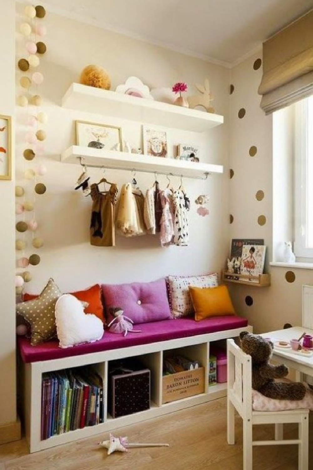 Kids room with Kallax topped with cushion and used as a sweet bench and storage. #kallaxhack #kidsroom