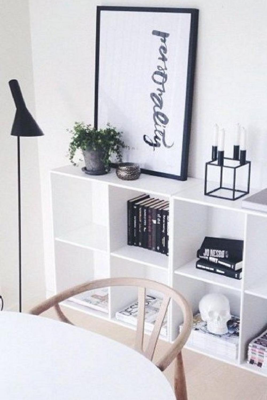 Scandi minimal style with Kallax shelf and Nordic chic. #kallaxhack