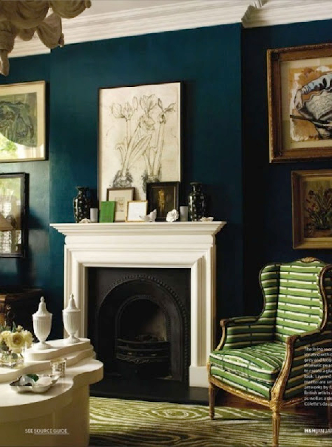 Deep teal walls in classic decorated living room. Come explore Dark Green Paint, Autumnal Greens & Interior Design Inspiration!