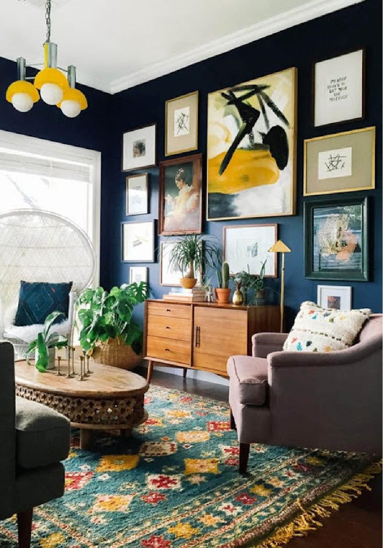 Dark green walls and art wall in living room - Come explore Dark Green Paint, Autumnal Greens & Interior Design Inspiration!