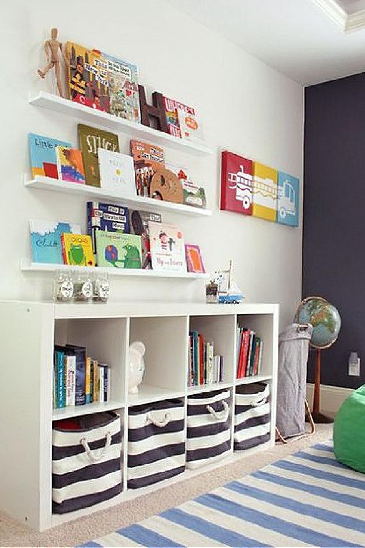 Kids room with floating shelves above Kallax from Ikea with black stripe baskets. #kallaxhack #kidsrooms